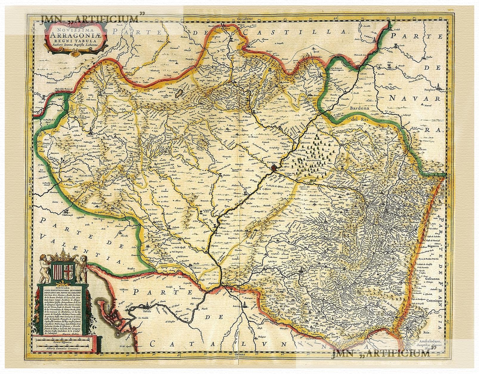 Teruel Spain Map.Aragon Huesca Zaragoza Teruel Pyrenees Spain Illustrated Map Hondius