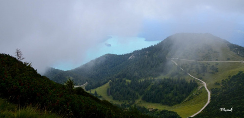 Alpy w chmurach, widok z Herzogstand 1,731m